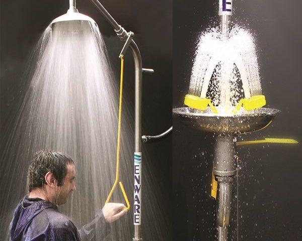 G3lab lab safety eyewash shower in use